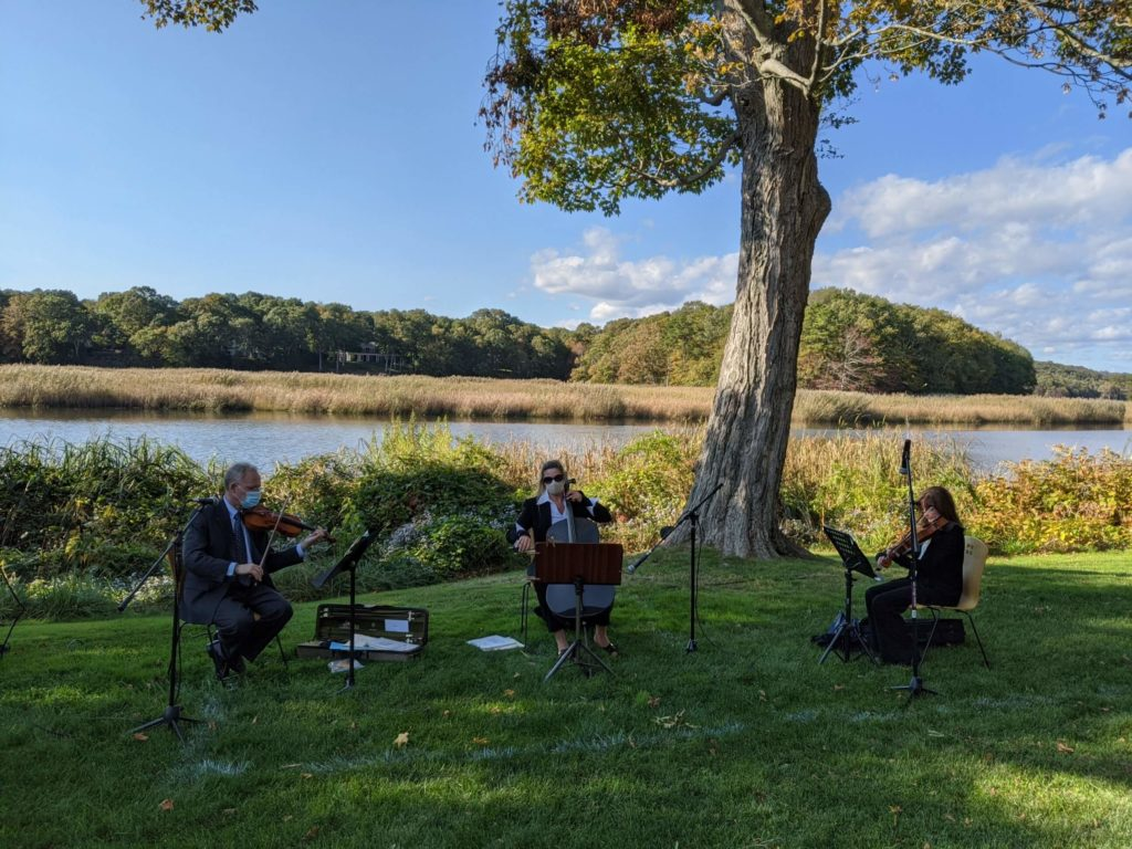 string trio by river at Florence Griswold Museum